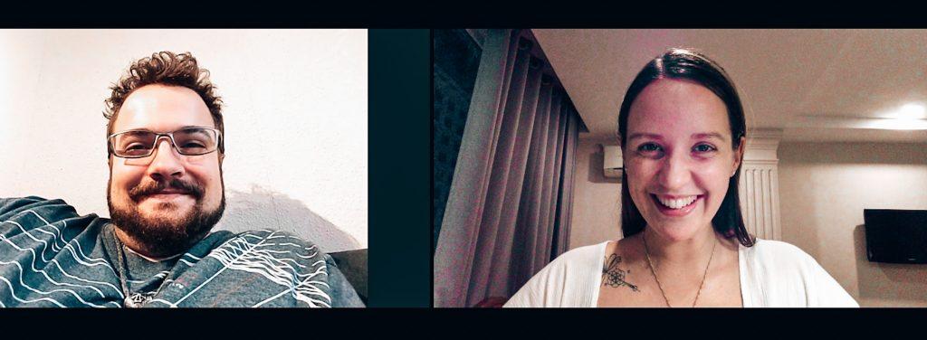 Marc und Cathy im Videocall lächelnd